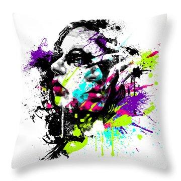 Face Paint 1 Throw Pillow by Jeremy Scott