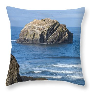 Face Rock Landscape Throw Pillow