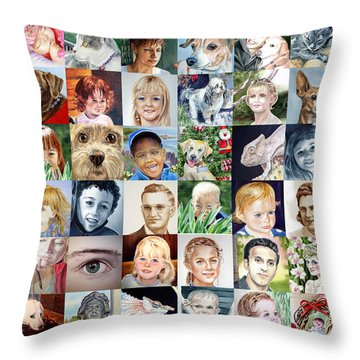 Facebook Of Faces Throw Pillow