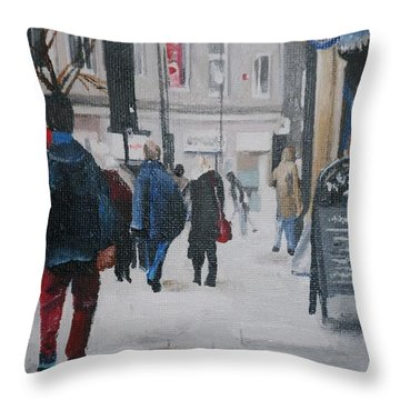 Faceless Crowd Throw Pillow by Cherise Foster