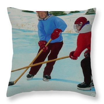 Faceoff Throw Pillow by Anthony Dunphy