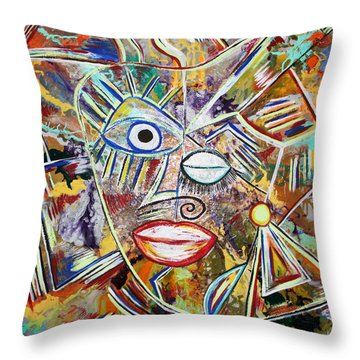 Faces In Life - Just Smile Throw Pillow