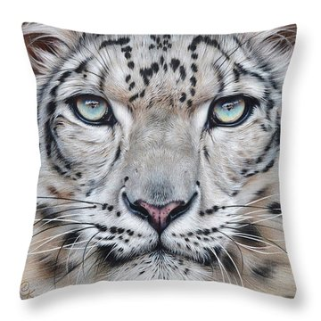 Throw Pillow featuring the drawing Faces Of The Wild - Snow Leopard by Elena Kolotusha