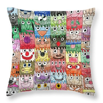 Faces Puzzle Poster Throw Pillow