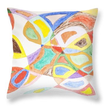 Throw Pillow featuring the painting Masks by Stormm Bradshaw