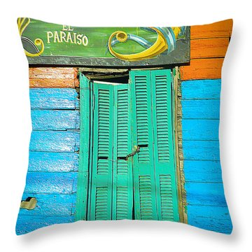 Fachada De Conventillo Throw Pillow by Silvia Bruno