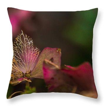Faded Hydrangea Throw Pillow by Yvon van der Wijk