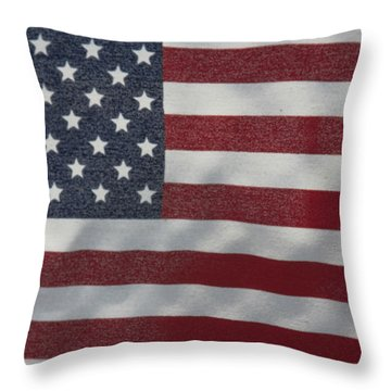 Throw Pillow featuring the photograph Faded Old Glory by Jerry Bunger