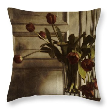 Throw Pillow featuring the photograph Faded Tulips by Inge Riis McDonald