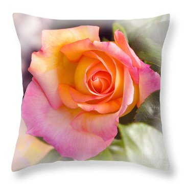 Throw Pillow featuring the photograph Faded Verigated Rose by Debby Pueschel