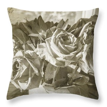 Fading Roses Throw Pillow