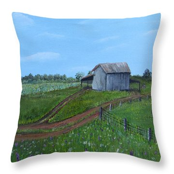 Fading Tobacco Barns Throw Pillow