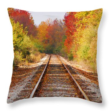 Fading Tracks Throw Pillow by Mary Carol Story
