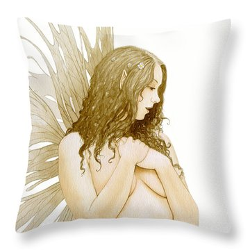 Faerie Portrait Throw Pillow by John Silver