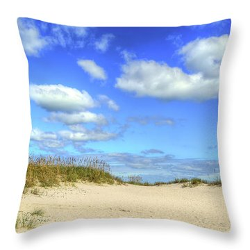Fair Weather Along The Beach Throw Pillow