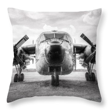 Throw Pillow featuring the photograph Fairchild C-119 Flying Boxcar - Military Transport by Gary Heller