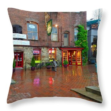 Fairhaven Green In The Rain Throw Pillow by Karen Molenaar Terrell
