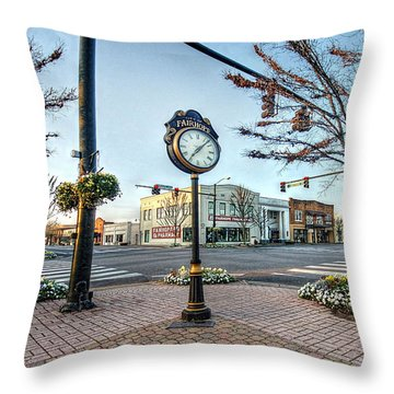 Fairhope Clock And 4 Corners Throw Pillow by Michael Thomas