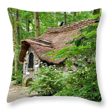 Fairy Cottage Throw Pillow by Jean Goodwin Brooks