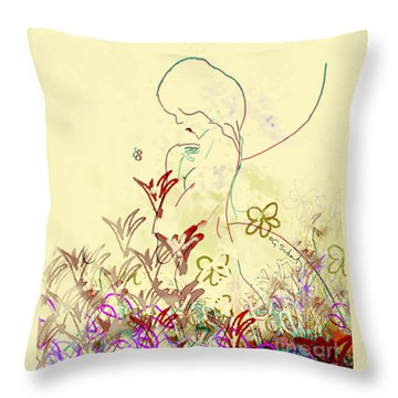 Throw Pillow featuring the digital art Fairy by Gabrielle Schertz