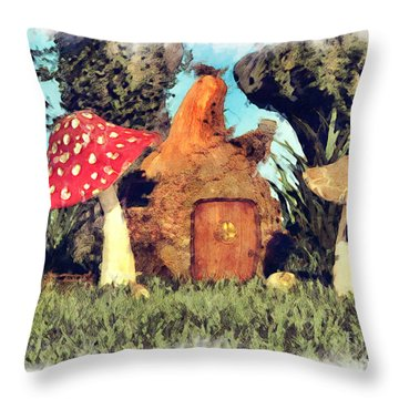 Fairy House With Toadstool Throw Pillow
