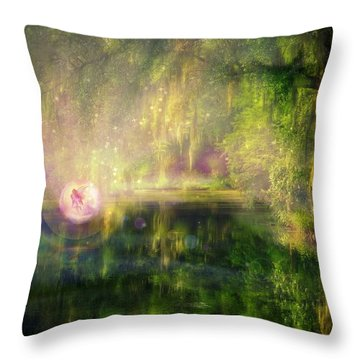 Fairy In Pink Bubble In Serenity Forest Throw Pillow by Lilia D