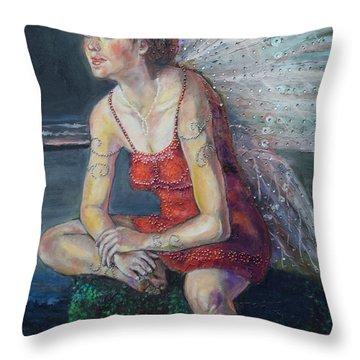 Fairy On A Stone Throw Pillow