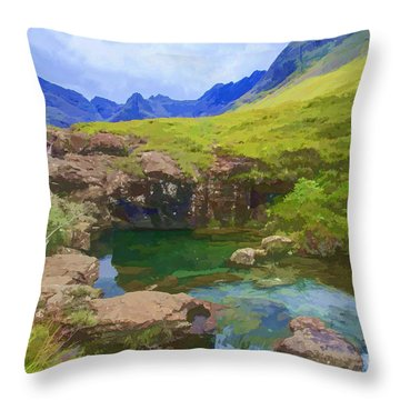Fairy Pools Of Skye Watercolour Throw Pillow