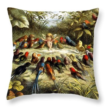 Fairy Rehearsal Throw Pillow by Photo Researchers