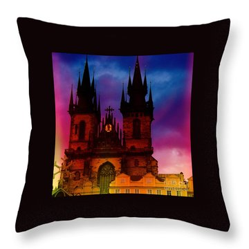 Fairy Tale Castle Prague Throw Pillow
