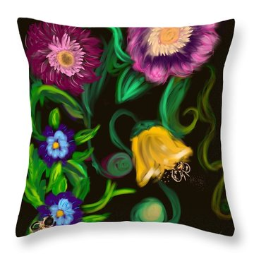 Throw Pillow featuring the digital art Fairy Tale Flowers by Christine Fournier