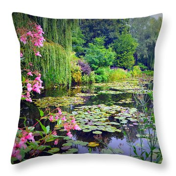Fairy Tale Pond With Water Lilies And Willow Trees Throw Pillow by Carla Parris