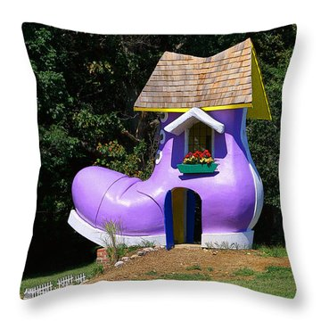 Fairy Tale Shoe House Throw Pillow by John Cardamone
