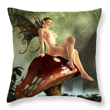 Fairy Toadstool Throw Pillow by Kaylee Mason