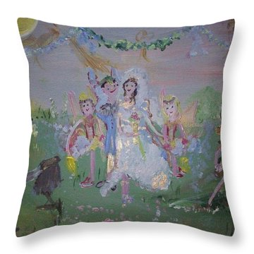 Throw Pillow featuring the painting Fairy Wedding by Judith Desrosiers