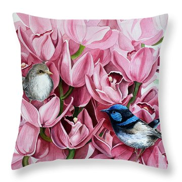 Fairy Wrens And Orchids Throw Pillow by Debbie Hart