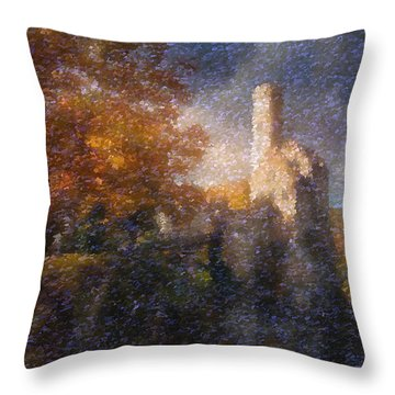 Throw Pillow featuring the painting Fairyland Castle by Mario Carini