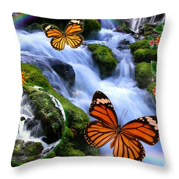 Fairyland Falls Throw Pillow by Alixandra Mullins