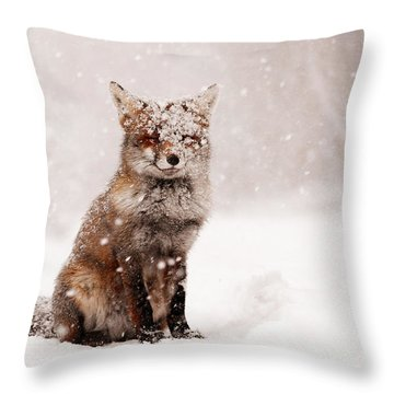 Fairytale Fox _ Red Fox In A Snow Storm Throw Pillow by Roeselien Raimond