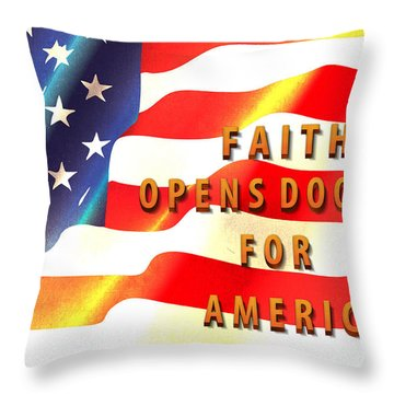 Faith And America Throw Pillow by Beverly Guilliams