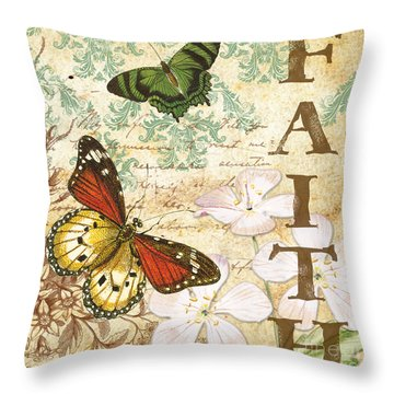 Faith And Butterflies Throw Pillow by Jean Plout