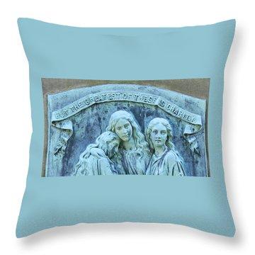 Faith Hope Charity Throw Pillow by Kathy Barney