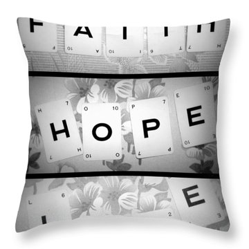 Faith Hope Love Throw Pillow by Georgia Fowler