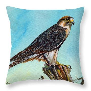Falcon On Stump Throw Pillow