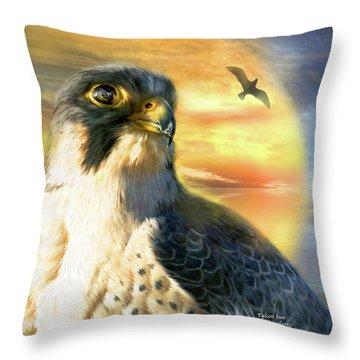 Falcon Sun Throw Pillow by Carol Cavalaris
