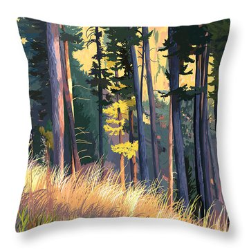 Fall Alpenglow Trees Grasses Throw Pillow