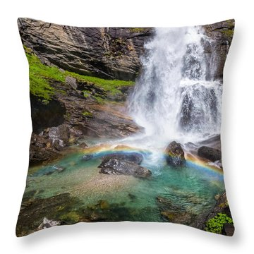 Fall And Rainbow Throw Pillow by Silvia Ganora