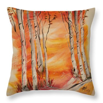 Throw Pillow featuring the painting Fall Aspen On Paper by Janice Rae Pariza