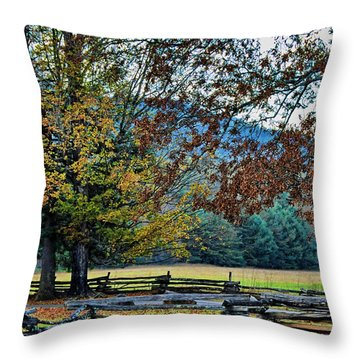 Fall At Cades Cove Throw Pillow by Kenny Francis