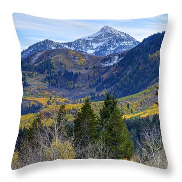 Fall At Cascade Peak And Sundance From Alpine Loop  Throw Pillow